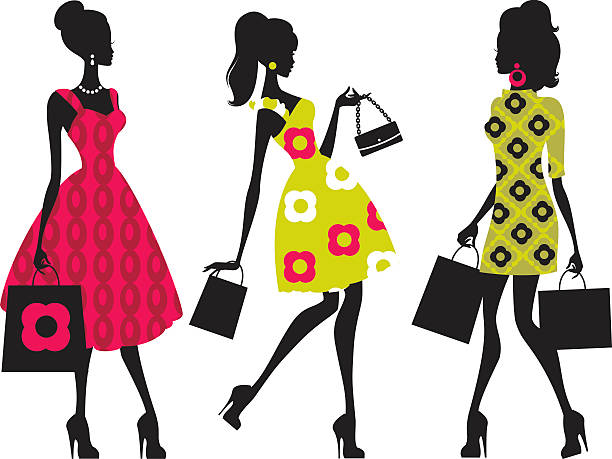 Retro Shopping Girls vector art illustration