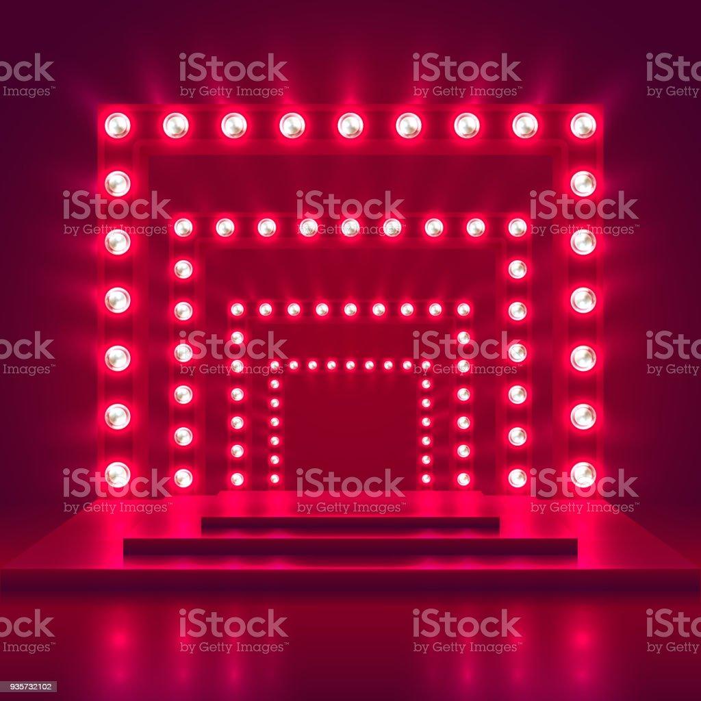 軽いフレームの装飾とレトロなショー ステージ。ゲームの勝者のカジノのベクトルの背景 ベクターアートイラスト