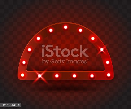 Retro SHOW TIME arc frame signs realistic vector illustration. red arc frame with electric bulbs for performance, cinema, entertainment, casino, circus. Transparent background.