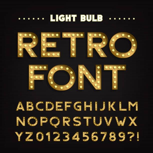 stockillustraties, clipart, cartoons en iconen met retro bord alfabet. vintage lamp type letters en cijfers. - bord bericht