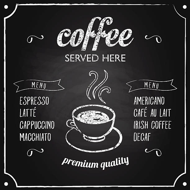 Retro sign with coffee menu vector art illustration
