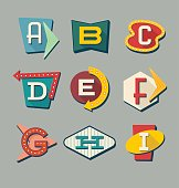 istock Retro signs alphabet. Letters on vintage style signs. 624006824
