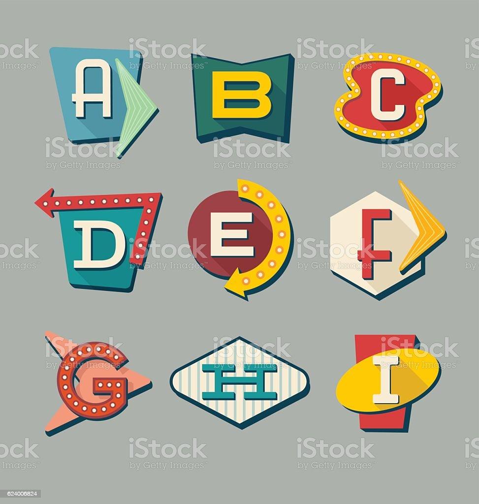 Retro signs alphabet. Letters on vintage style signs. - Illustration vectorielle