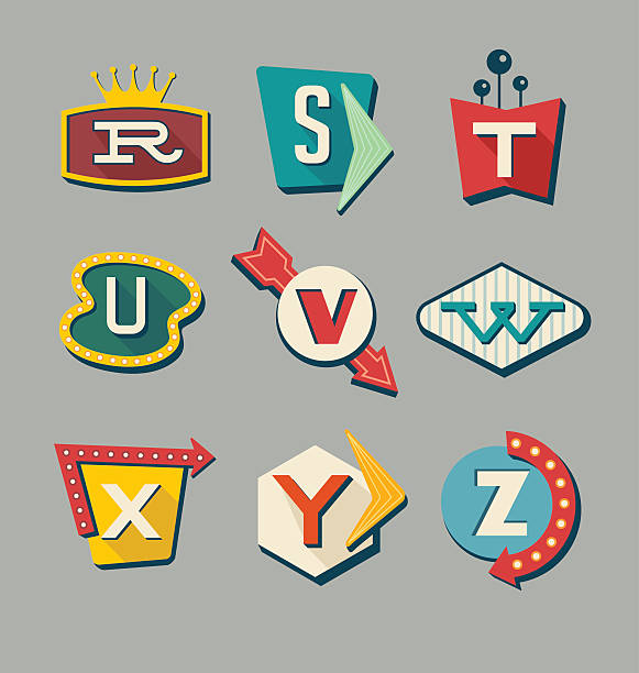 retro signs alphabet. letters on vintage style signs. - 1960s style stock illustrations, clip art, cartoons, & icons