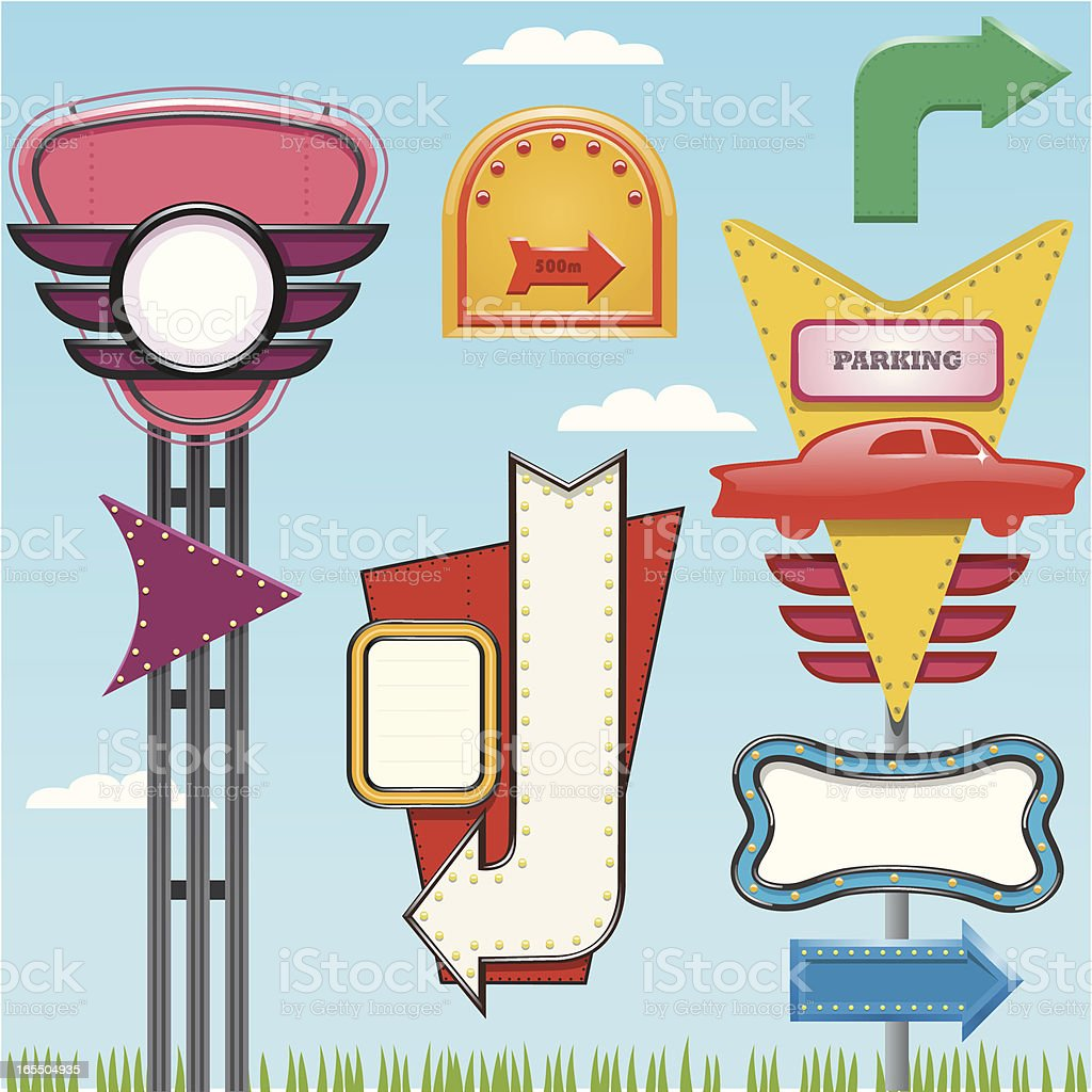Retro Signs vector art illustration