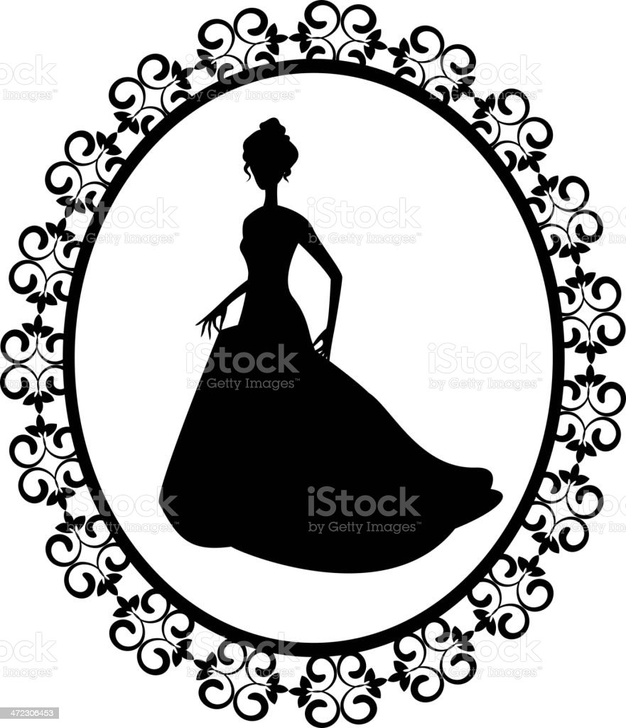 retro silhouette woman in frame royalty-free stock vector art