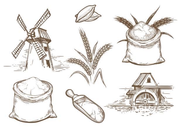 retro-bäckerei skizzenelementen - mehl stock-grafiken, -clipart, -cartoons und -symbole