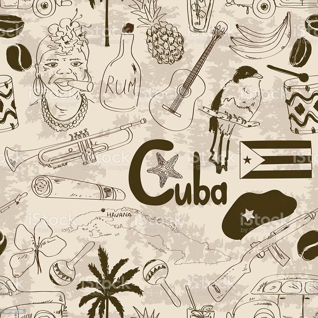Cubano patrón sin costuras estilo Retro boceto - ilustración de arte vectorial