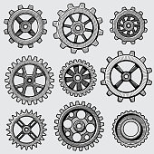 Retro sketch mechanical gears. Hand drawn vintage cog wheel parts of factory machine vector illustration
