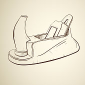 Retro sketch of a carpentry planer tool in a sketch style on a sepia background