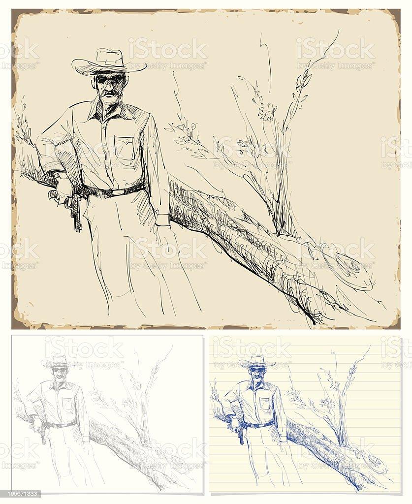 レトロなスケッチ西洋の国の男性 イラストレーションのベクターアート