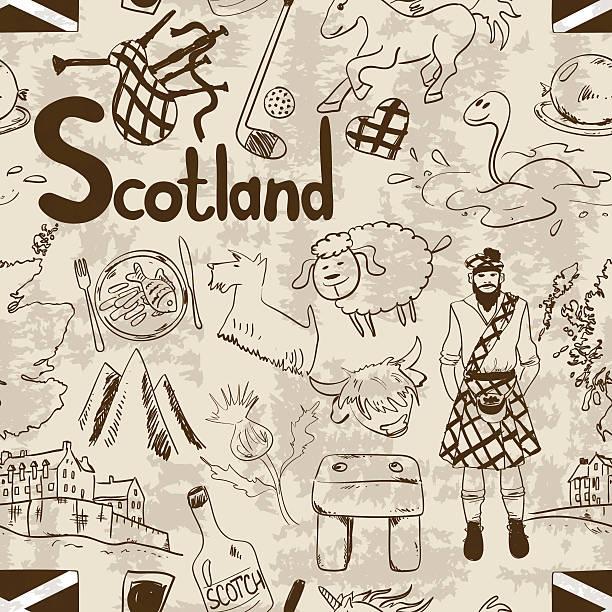retro sketch scotland seamless pattern. - haggis stock illustrations, clip art, cartoons, & icons