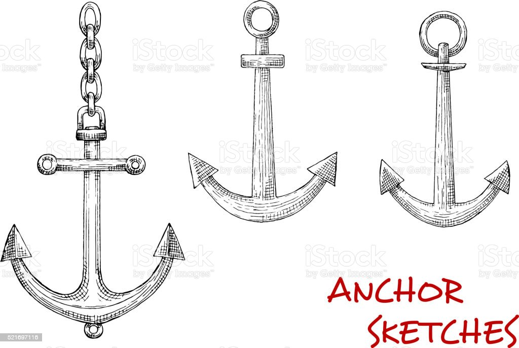 Retro sketches of navy heraldic anchors vector art illustration