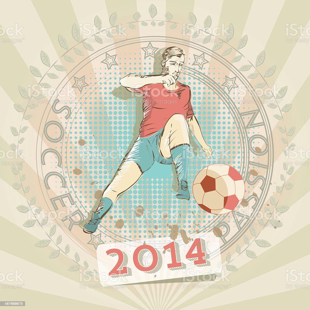 retro soccer player royalty-free stock vector art