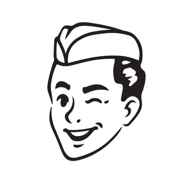 retro soda jerk portrait - 1940s style stock illustrations