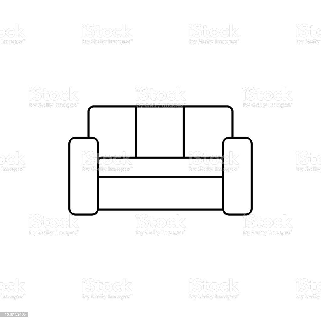 Vector Of Living Room Stock Vector Image Of Sofa: Retro Sofa Line Icon Living Room Furniture Black On White
