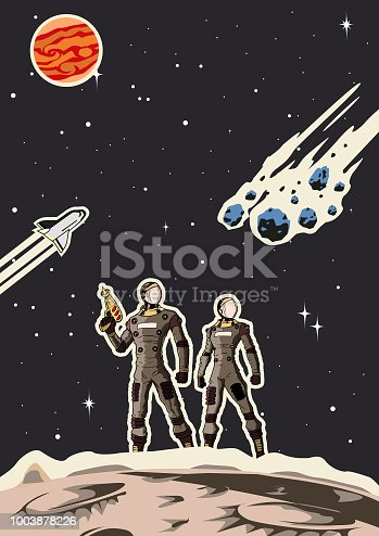 A retro style vector illustration poster of a couple of astronaut in space background. Easy to grab edit, wide space available for your copy.