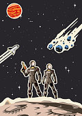Retro Space Astronaut Couple Poster