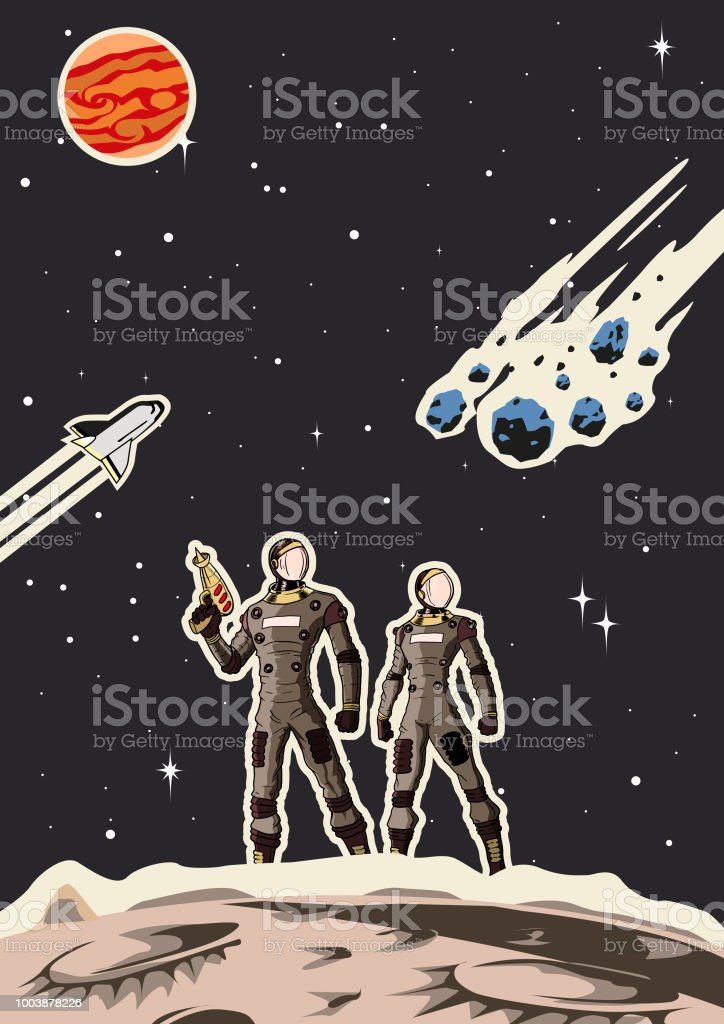 Retro Space Astronaut Couple Poster vector art illustration