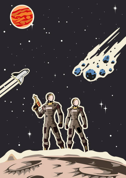 retro space astronaut couple poster - свободное место stock illustrations