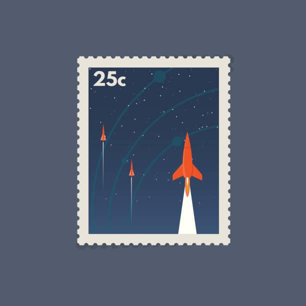 stockillustraties, clipart, cartoons en iconen met retro ruimte postzegel - ruimtevaart voertuig