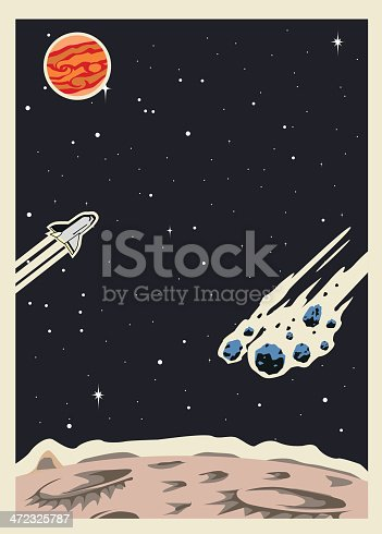 A template of a retro style outer space illustration.