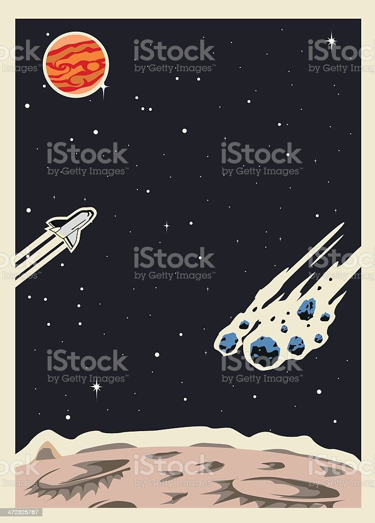 Retro Space Poster template vector art illustration