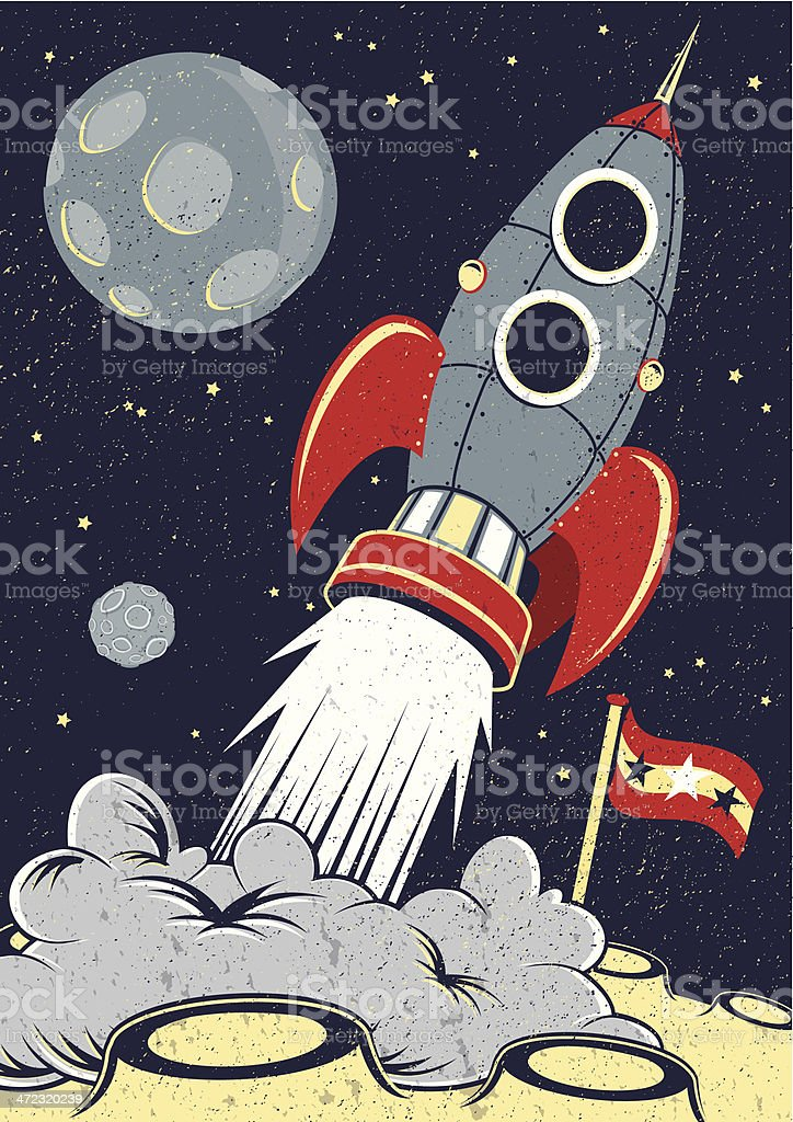 Retro Space Rocket Lifts Off. royalty-free stock vector art