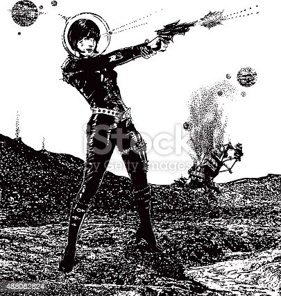 istock Retro Space Woman In Combat In Outer Space 488082824