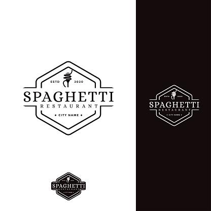 retro spaghetti pasta noodle vector icon
