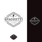 Vintage hipster retro spaghetti pasta noodle vector icon
