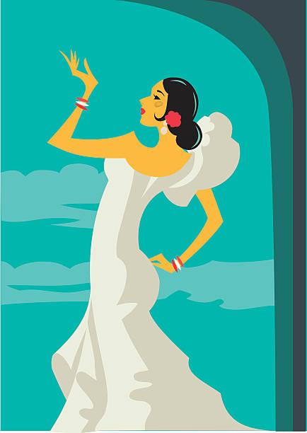 Dançarina de Flamenco espanhol retrô - ilustração de arte em vetor