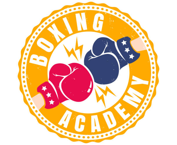 stockillustraties, clipart, cartoons en iconen met retro sport poster voor boxing academy - knock out