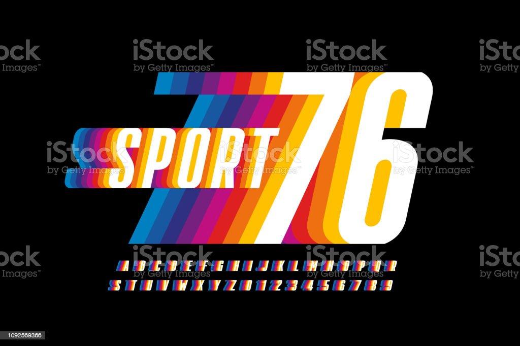 Retro sport style colorful font design vector art illustration