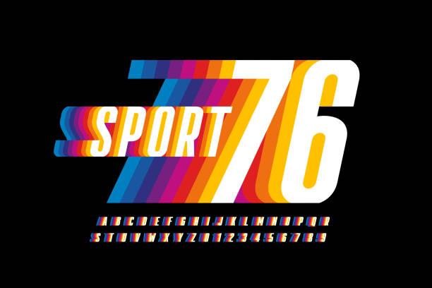retro sport stil bunte schriftdesign - zahlenspiele stock-grafiken, -clipart, -cartoons und -symbole