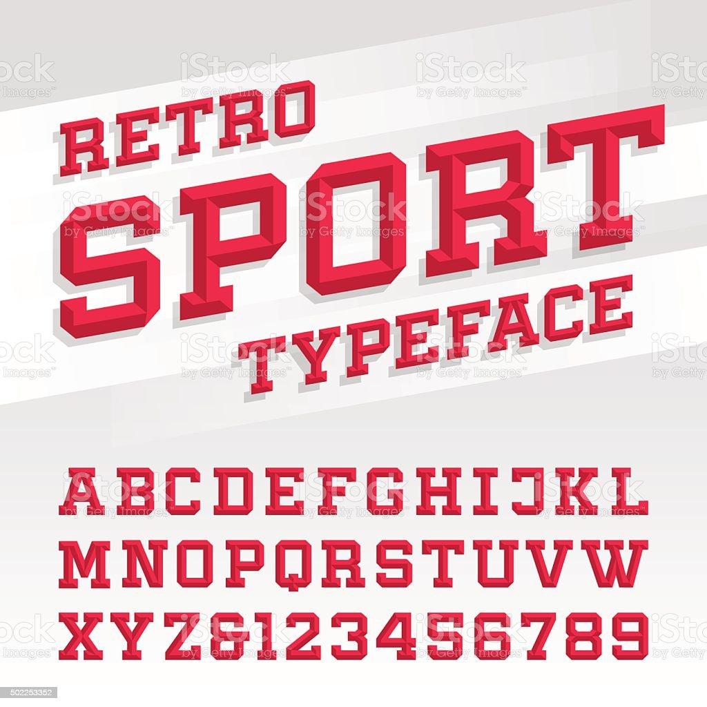 Retro sport style typeface vector art illustration