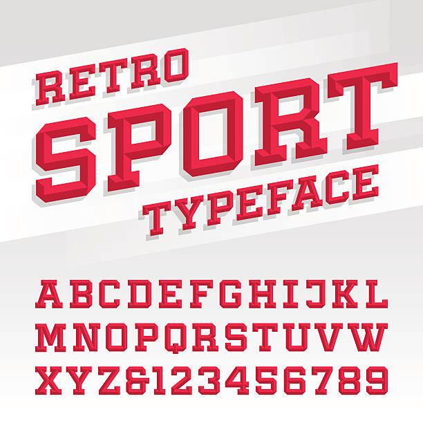 stockillustraties, clipart, cartoons en iconen met retro sport style typeface - sportkleding