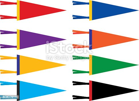 Vector illustration of eight colorful retro styled sports pennants.