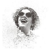 Retro spray paint, graffiti portrait of a young woman wearing vintage sunglasses