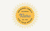 Yellow Retro Stamp Label Template with Sunburst on the Light Background