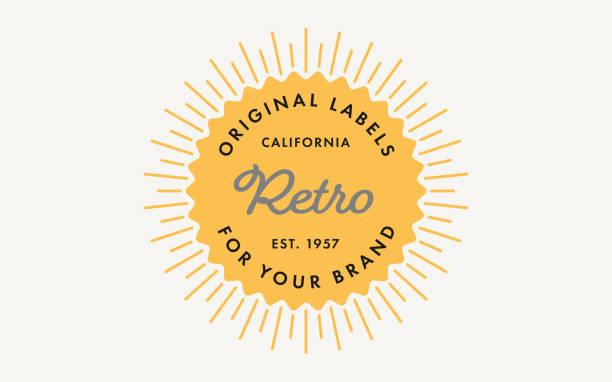 retro stamp szablon etykiety z sunburst - przypinka stock illustrations