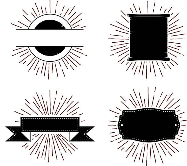 illustrations, cliparts, dessins animés et icônes de retro star burst scrolls - illustrations de flare