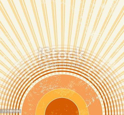 istock Retro starburst - abstract vintage music background in 70s style with sound wave circles - sunburst template 1171891030
