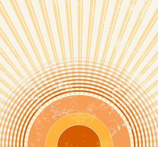 stockillustraties, clipart, cartoons en iconen met retro starburst-abstracte vintage muziek achtergrond in 70s stijl met sound wave cirkels-sunburst sjabloon - seventies