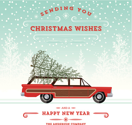 A reto country squire station wagon with christmas tree on top. White Pine Background with Text.