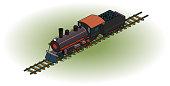 4-4-0 steam locomotive w/ tender - 26.6° isometric projection