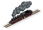 2-8-2 steam locomotive w/ tender - 26.6° isometric projection