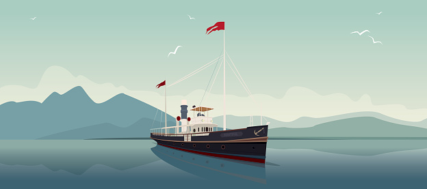 Scenic area with old cruise ship in style of retro steamer sails into the open sea, on clear day. In the background is natural mountain landscape. Realistic flat style