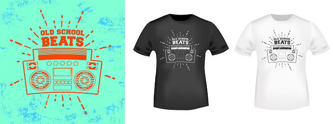Retro stereo boombox t-shirt print stamp for tee, t shirts applique, vintage fashion, badge, label clothing, jeans, and casual wear. Vector illustration
