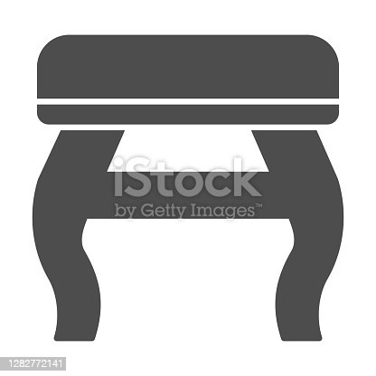 Retro stool solid icon, Furniture concept, retro pouf with legs sign on white background, Wooden chair stool icon in glyph style for mobile concept and web design. Vector graphics